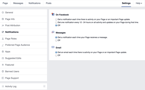 facebook page notifications settings
