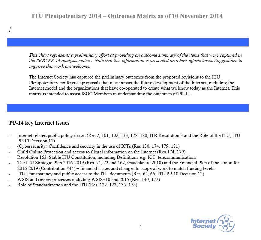 ITU Plenipotentiary 2014 - Outcomes