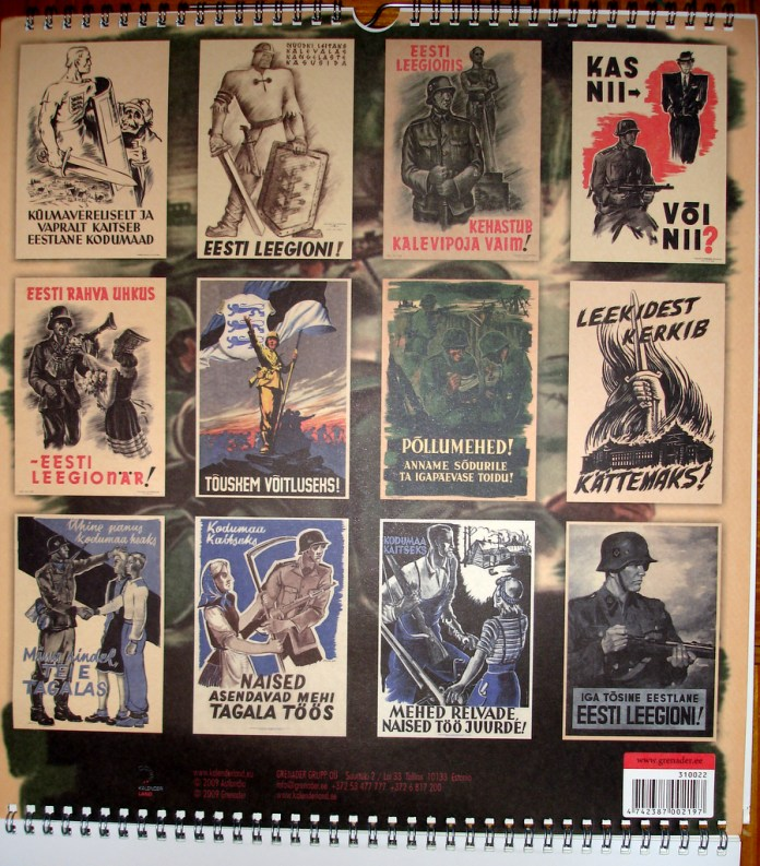 Calendar poster of 20th Waffen Grenadier Division of the SS
