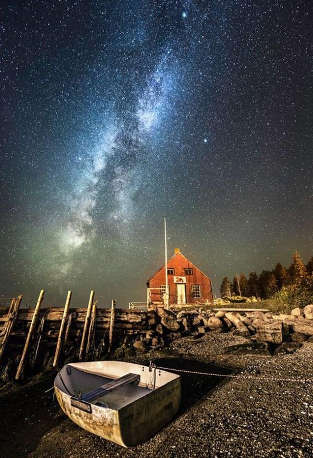 Quintessential Maine Scene at Night