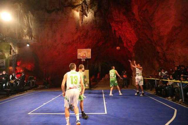 Basketball playground in Postojna Cave