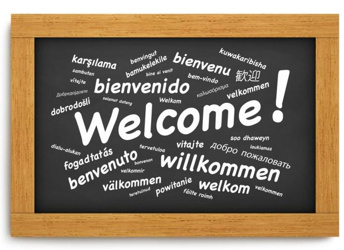 Welcome International Chalkboard