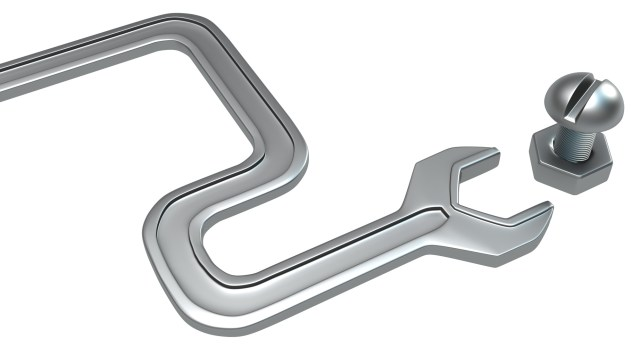 Metal spanner double curve bend with bolt isolated, 3d illustration, horizontal, over white