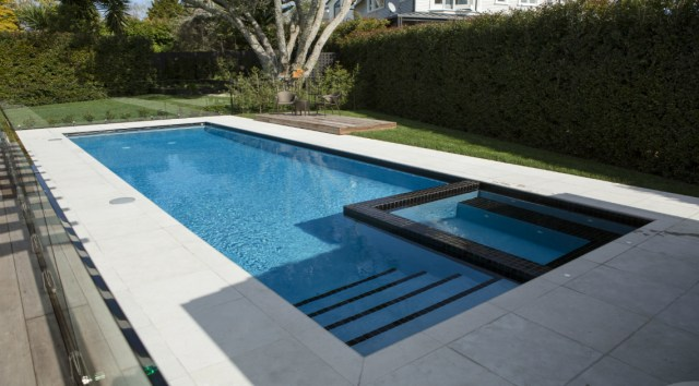 pool shapes with spa