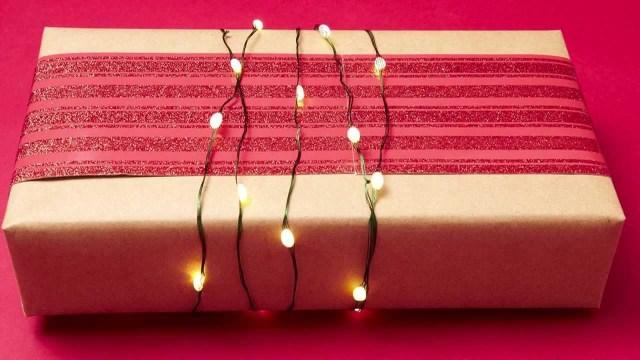 Christmas Lights as Gift wrap