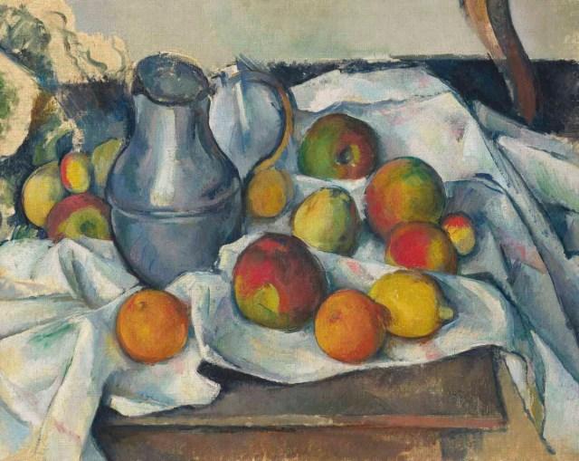 Paul Cezanne, Bouilloire et fruits,
