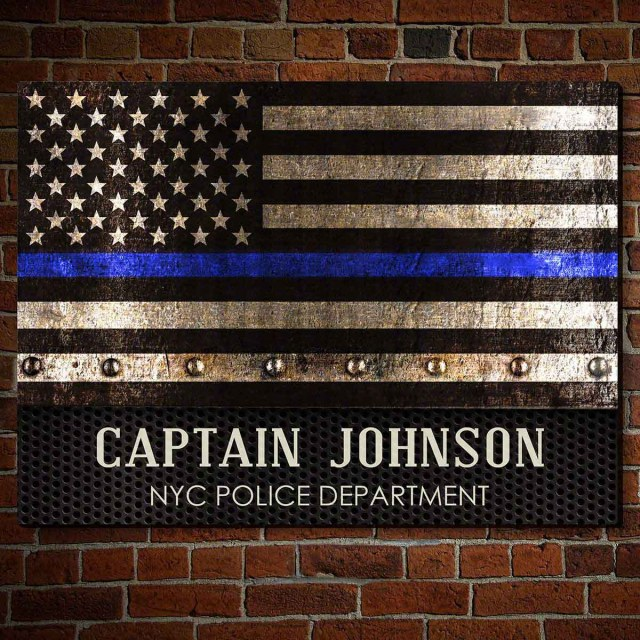 Personalized Thin Blue Line Wooden Sign
