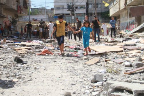 Palestinian children at the Al-Shati Refugee Camp in Gaza