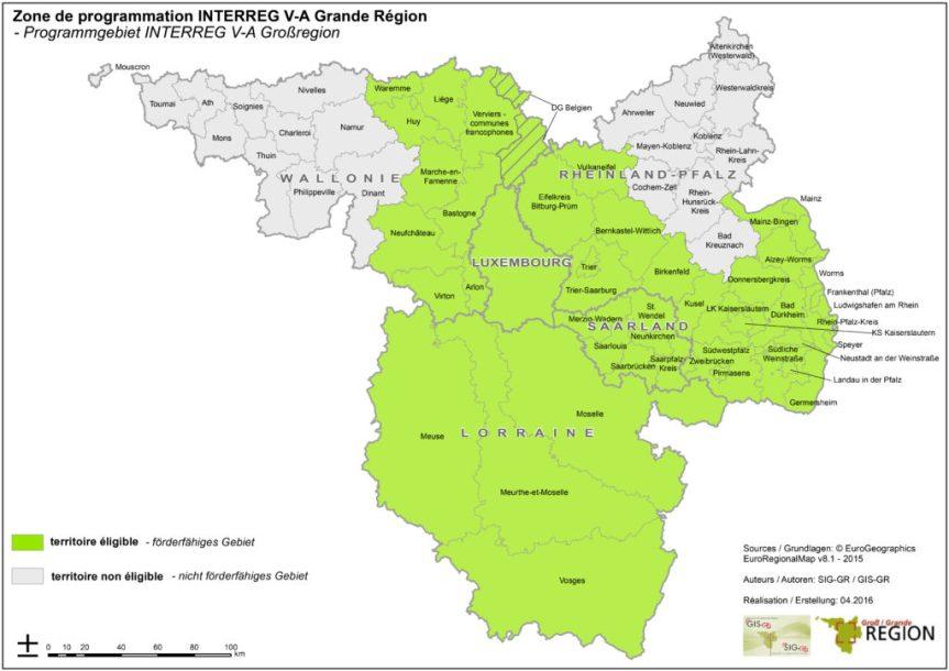 Zone programmation Interreg Grande Région