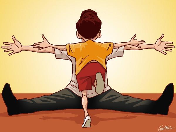'filho correndo para o pai sentado no chão'  (Eduardo Baptistão)