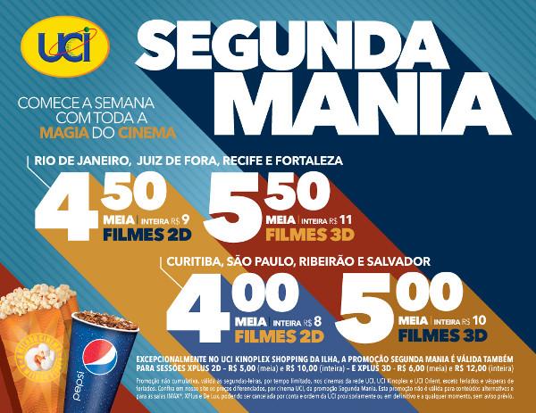 """Promoção """"Segunda Mania"""" retorna nas salas do UCI Cinemas"""