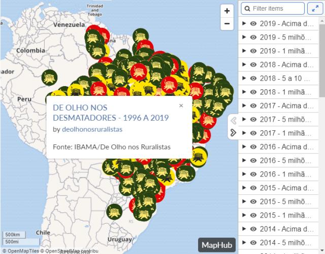 Mapa das Multas por Desmatamento