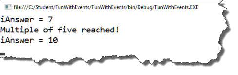 Result after running the modified code to raise the C# event.