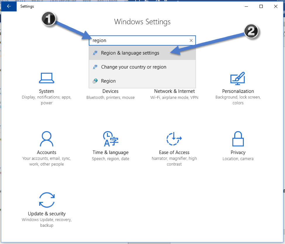 select Region & language settings