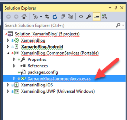 Delete the Xamarin ContentPage that was created called XamarinBlog.CommonServices.cs
