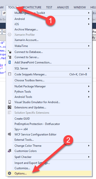 Image showing how to disable the Visual Studio add-in.