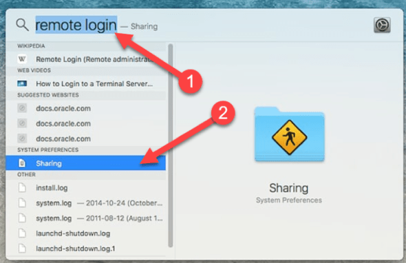 "Image telling you to search for ""remote login"" on your Mac."