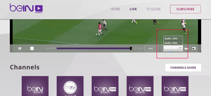 Anglais audio HD chaines payantes débloqués beinsportsconnect Error 3222