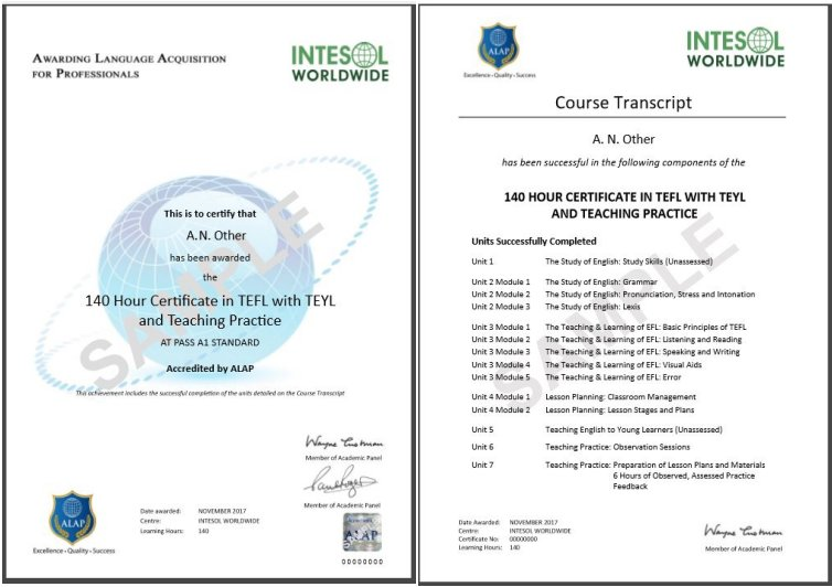 120 -140 Hour TEFL Courses