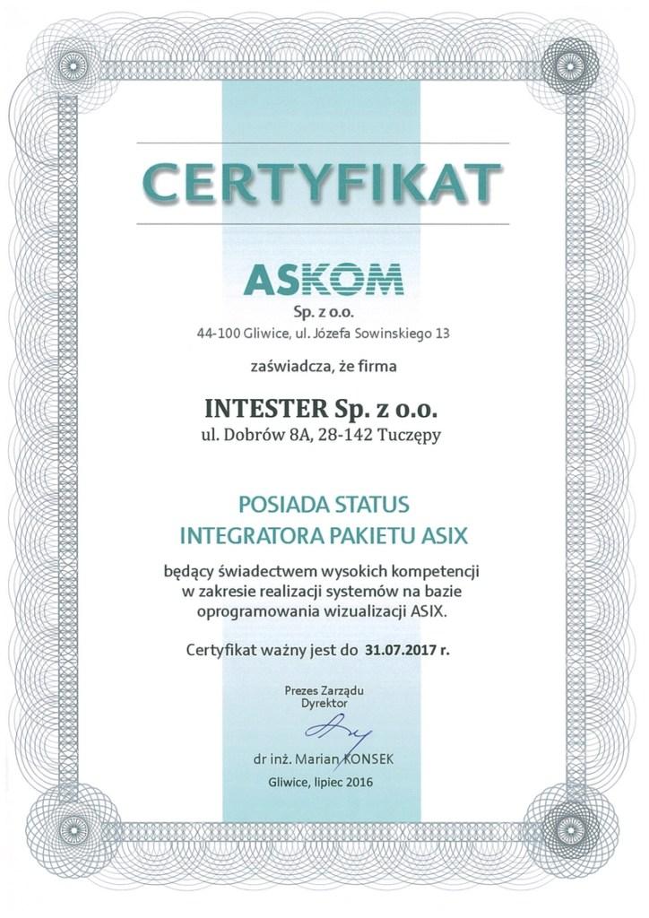 certyfikat automatyzacja procesów przemysłowych