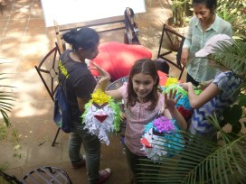 """The finished pinatas (yes, """"angry birds"""" theme)"""