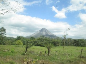 Our first view of Volcan Arenal.