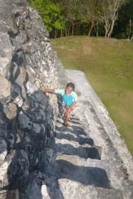Nadia climbs El Castillo.