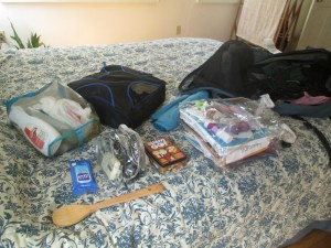 The contents of my backpack, still organized on day 74 of the trip.