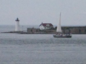 The Gundalow and Constitution light as seen from Fort McLary.