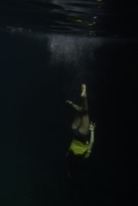 Zoe dives to the depths in Las Grietas.