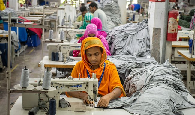 In this garment factory in Narayanganj, Bangladesh, women and men work equal shifts for equal pay.