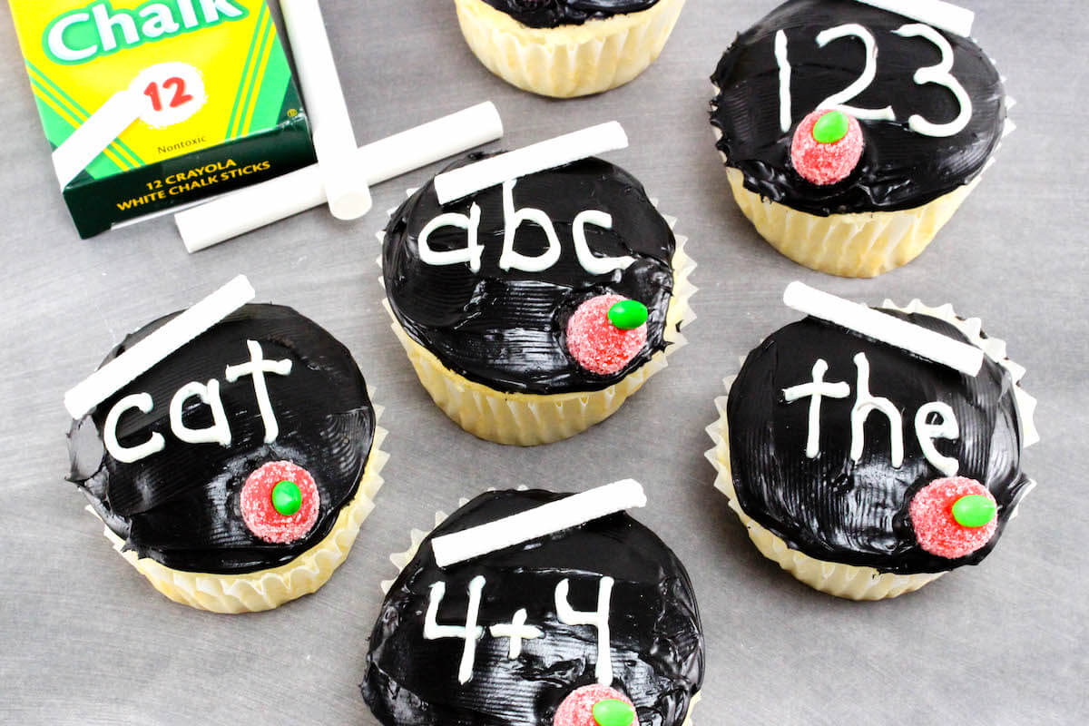 Back To School Chalkboard Cupcakes In The Kids Kitchen