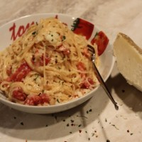 Creamy Manchego Rose Sauce over Angel Hair Pasta
