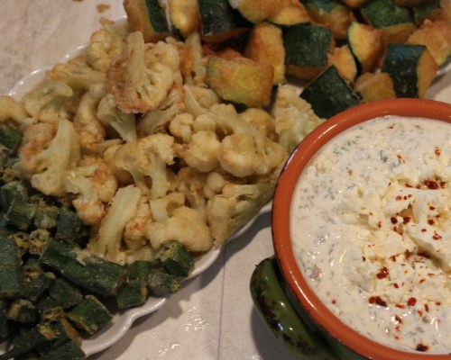 Gluten Free Fried Veggie Trio with Spicy Feta Sauce