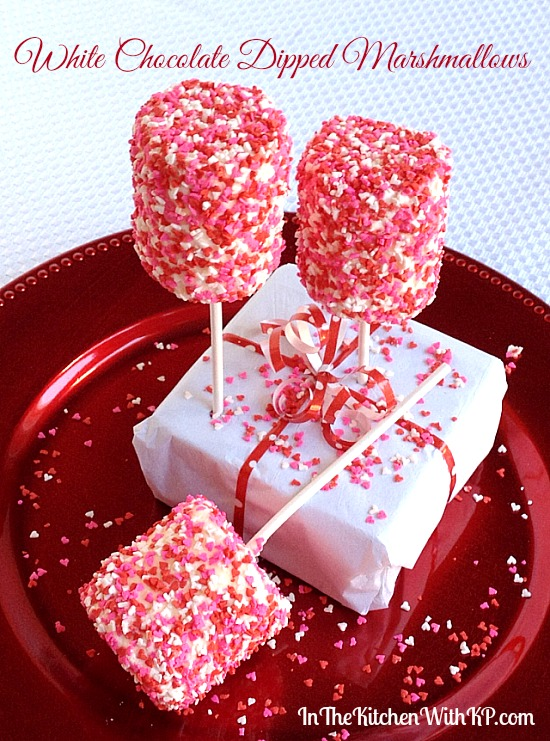 White Chocolate Dipped Marshmallows For A Valentines Day
