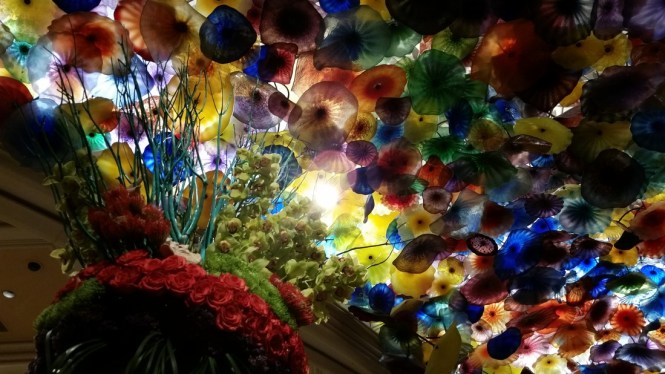 The Murano Glass Sculpture On Ceiling Of Bellagio Hotel And In Las Vegas