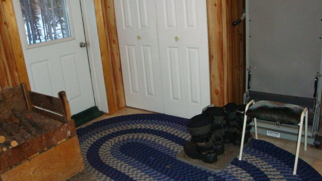 Entry Way w/ Wood Box, Coat Closet, Boot Tray and Bench
