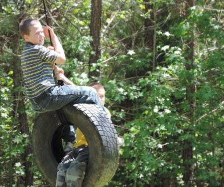 The tire swing was a big hit!