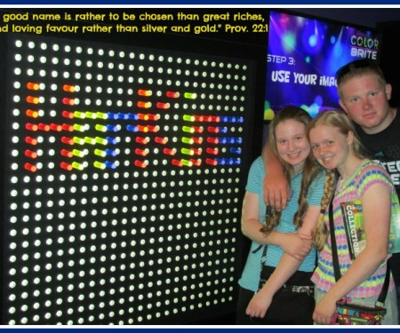 Friday Photo...a day late! Having fun with a giant lite brite while on vacation...