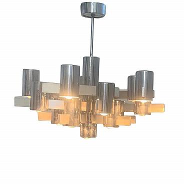Lampadario anni 70 a 6 luci acciaio e vetro vintage. Chandelier By Gaetano Sciolari In Steel And Aluminum 70s Intondo
