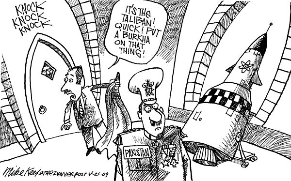 Taliban and Pakistan Nukes; Cartoon by Mike Keefe; 04/25/2009 (Ref Num:69801); Courtesy - intoon.com. Click forlarger image.