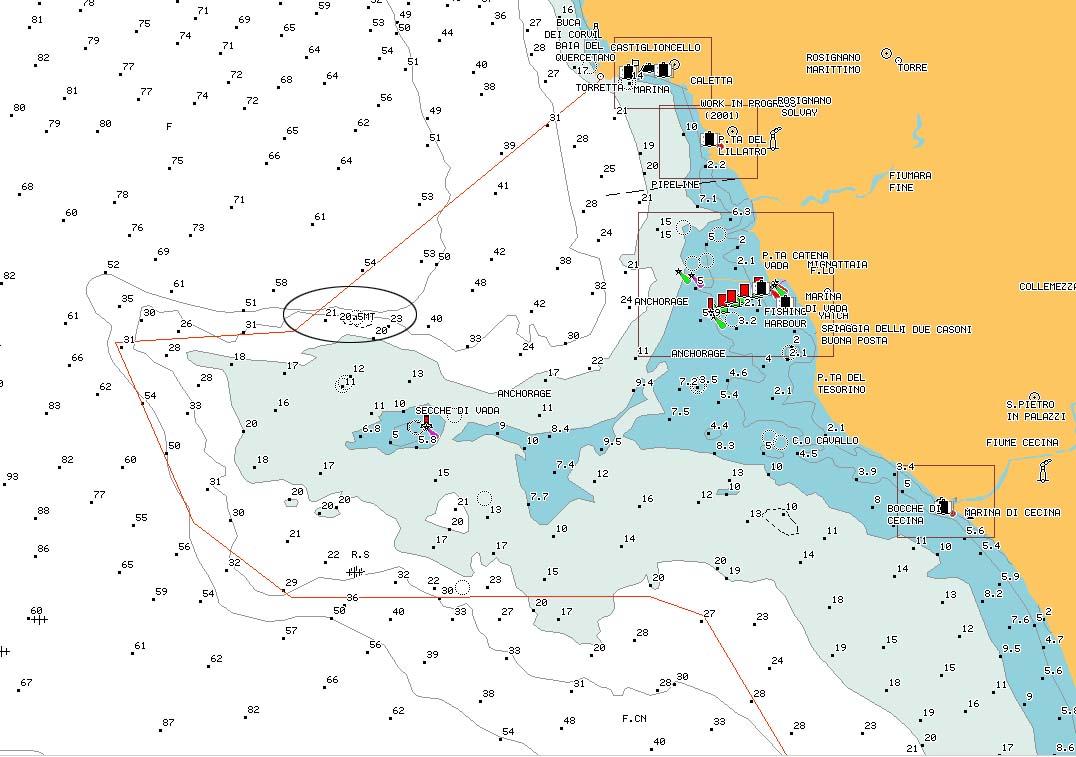 "carta nautica ""Muraglione"" - reef ""Muragione"" nautical chart - intotheblue.it"
