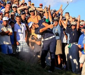 Dustin Johnson Hits Out Of A Bunker On 18 At The PGA Championship
