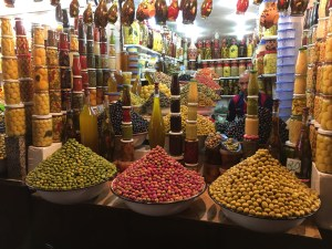 Shopping for fresh olives in Djemaa-El-Fnaa (The Central Square) in Marrakesh