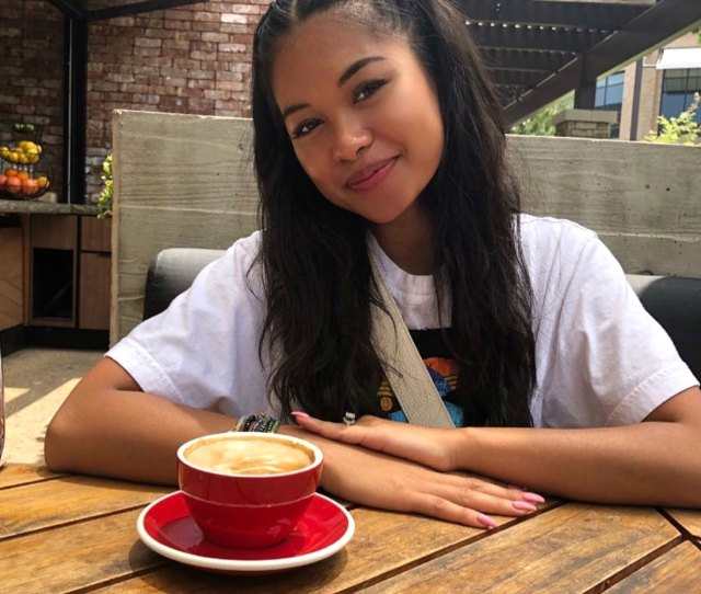 Ammika Harris Drinking Coffee Baby Due With Chris Brown