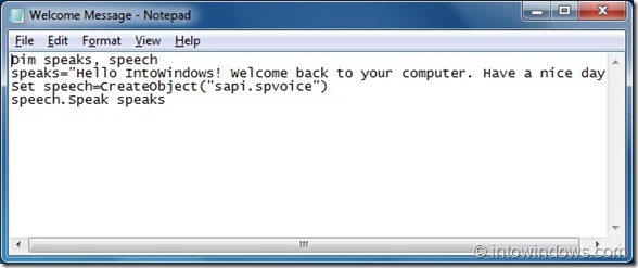 Make Windows 7 Welcome You With A Custom Voice Message step 2
