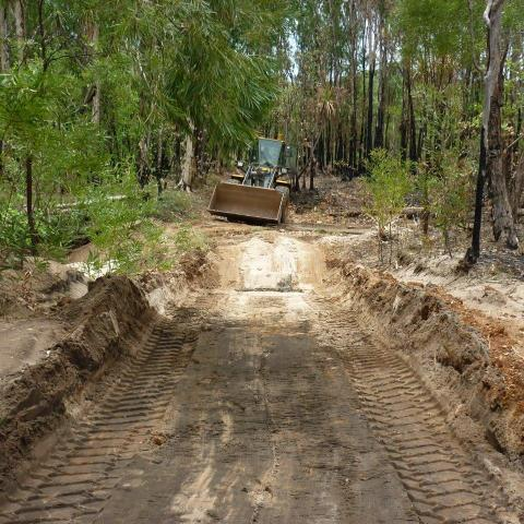 Loader paving path at Kakadu National Park 4WD Track Upgrades