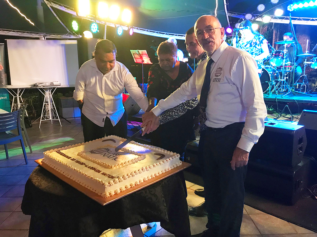 Cutting the cake at Intract's 20th Anniversary of Larrakia National Aboriginal Corporation