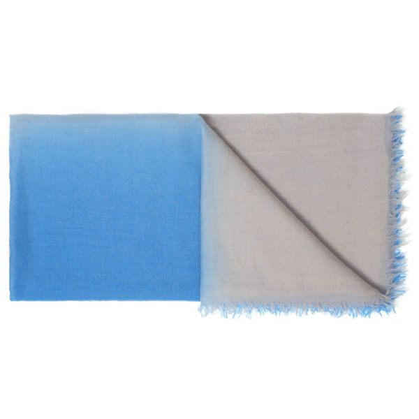 C10757 Scarf Intreccio BIcolor Light Blue and Beige