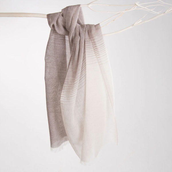 Cashmere, Wool and Silk stole with Degradé effect